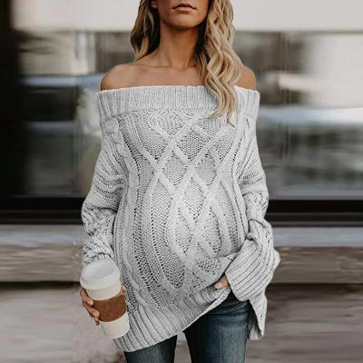Maternity Pure Color Off Shoulder Loose Sweater