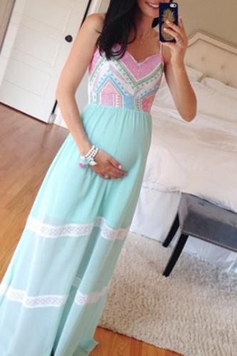 Maternity Color Block Full Length Cami Dress