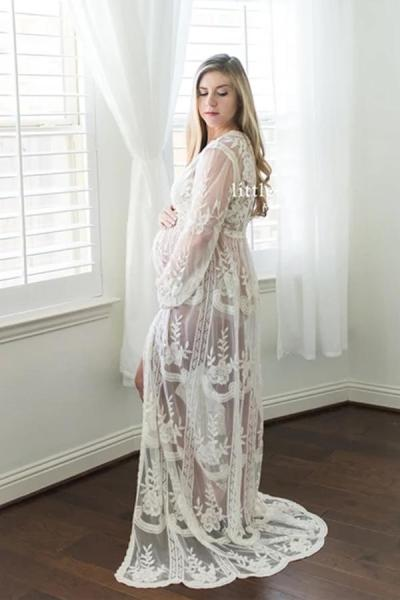 Summer Boho Lace Long Dress Maternity Photography Dresses