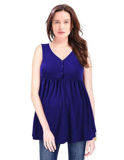 2020 Button Sleeveless Solid Color Pleated T-shirt for Pregnant Women