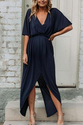 Maternity Elegant V Neck Pure Color Belted Dress