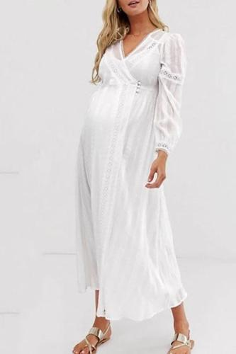 Maternity Casual V Neck Long Sleeve Hollow Out Maxi Dress