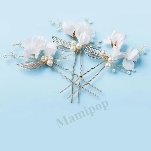 White Flower Hair Pins Gold Leaves Pearl Hair Stick Wedding Bridal Hair Accessories