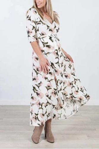 Maternity Elegant V-Neck Lace Floral Print Sleeves Irregular Dress