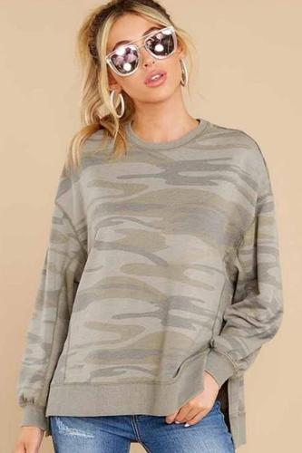 Autumn and Winter Women's Split Hem Round Neck Long Sleeve Top