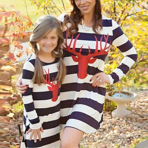 Parent-child Dress Striped Deer Head Long-sleeved Dress