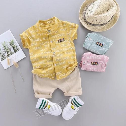 2020 summer boys new  letter shirt shorts set stylish handsome short sleeves two-piece set