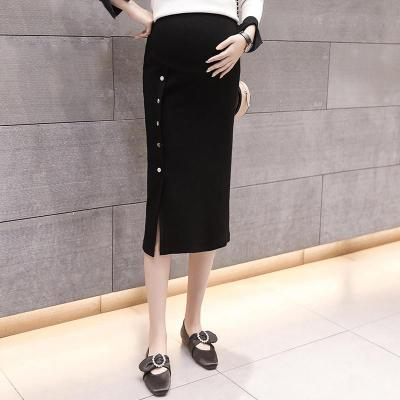 Maternity Basic Pure Color Single Breasted Skirt