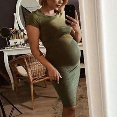 Maternity Short Sleeve Sheath Midi Dress
