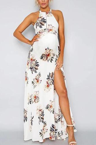 Maternity Sexy Floral Printed Halter Slit Dress