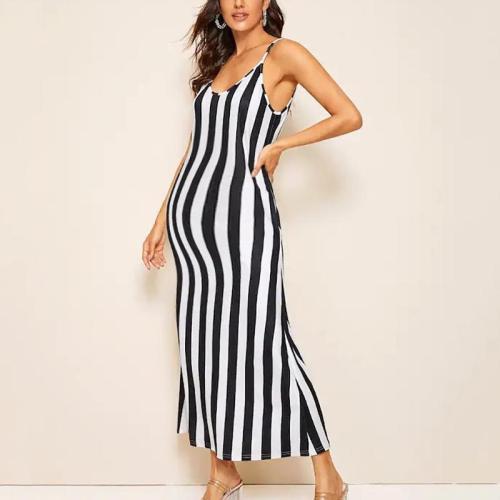 Maternity Casual Spaghetti Strap Striped Printed Dress