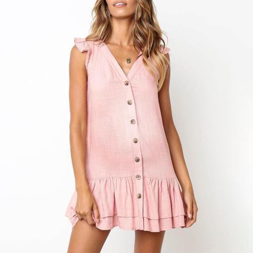 Maternity Short Sleeve Falbala V-Neck Dress