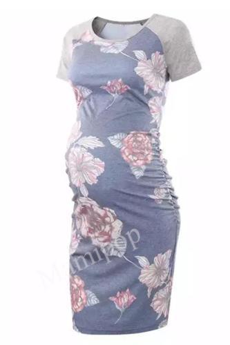 2020 New Round Neck Short Sleeve Printed Maternity Dress
