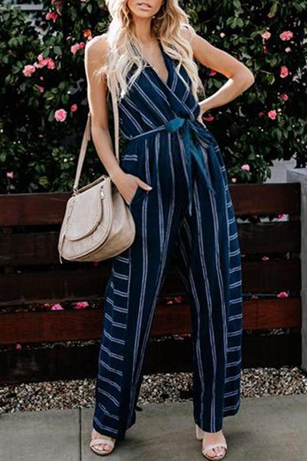 Maternity Stripe V-Neck Jumpsuits