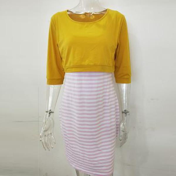 Multifunction Breast-Feeding Stripe Seven-Quarter Sleeve Maternity Dress