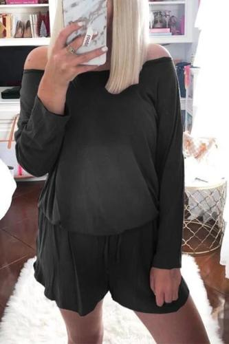 Maternity Casual Off Shoulder Pure Color Long Sleeve Romper