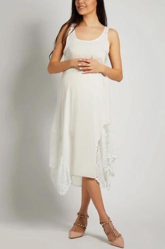 Maternity Chiffon Asymmetric Hem Sleeveless Maxi Dresses