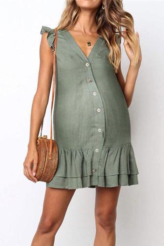Maternity Cardigan Single-Breasted Cotton Midi Dress