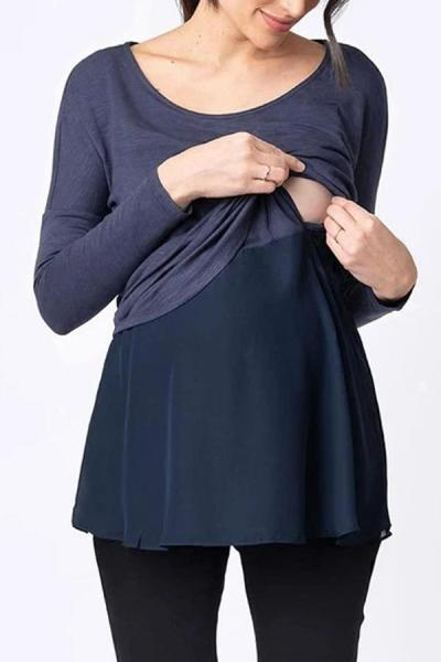 Pregnant Women Breast-feeding in Autumn and Winter Leave Two Solid Color Long-sleeved Tops
