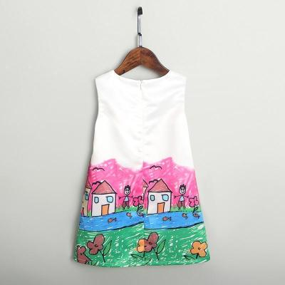 Mom Girl Graffiti Zipper Back Sleeveless Dress