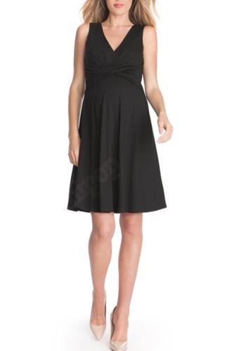 Fashion Summer Tencel Deep V-Neck Black Dress for Pregnant Women