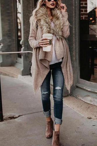 Maternity Pure Color Long Sleeve Irregular Cardigan