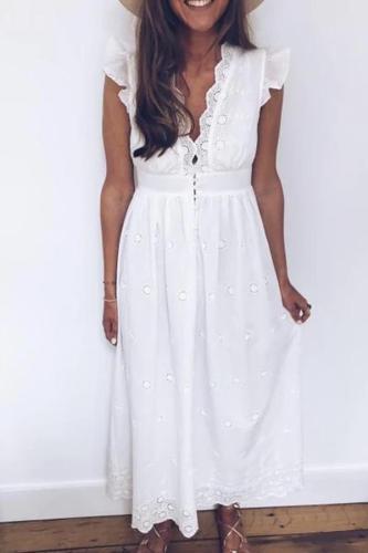 Maternity Fashion V-Neck Ruffle Denim Single-Breasted Dress