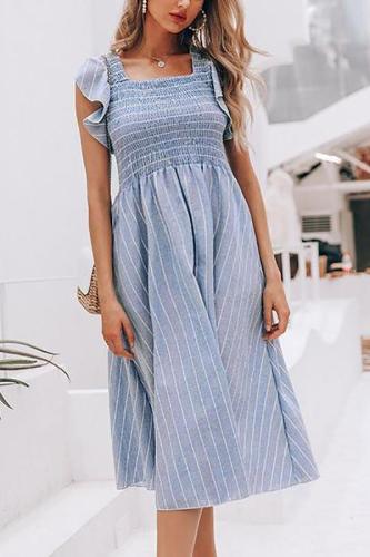 Maternity Striped Ruffled Dress