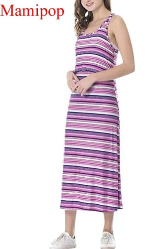 Casual Maternity Sleeveless Tops Floral Stripe Nursing Baby Dress Clothes