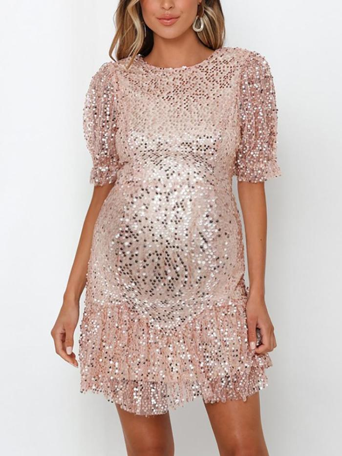 Maternity Round Neck Sequined Dress
