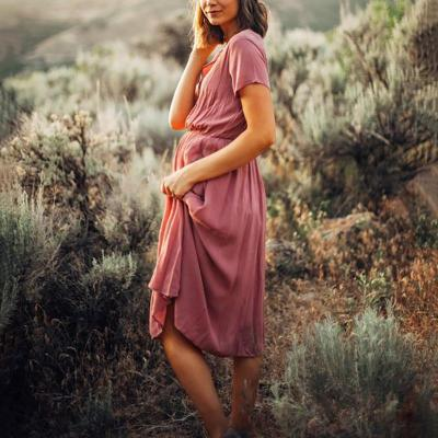 Maternity V Neck Short Sleeve Pure Colour Dress