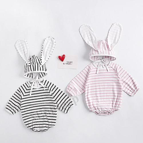 Fall Baby Girl Striped Long Eared Hat Creeper 2-piece Romper