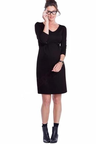 Lycra Knee-Length Pleated Maternity Wrap Dress for Pregnant Women