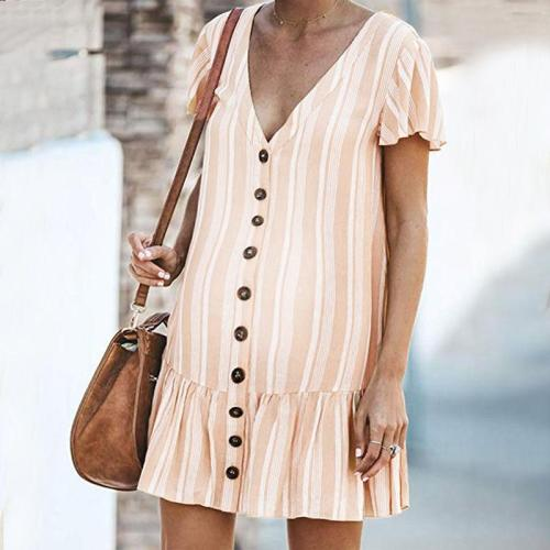 Maternity V-Neck Stripe Falbala Dress