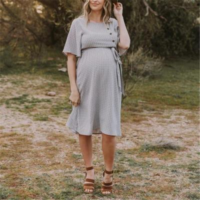 Casual Printed Button Short-sleeved Maternity Dress