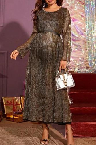 Maternity Round Neck Long Sleeves Long Dress
