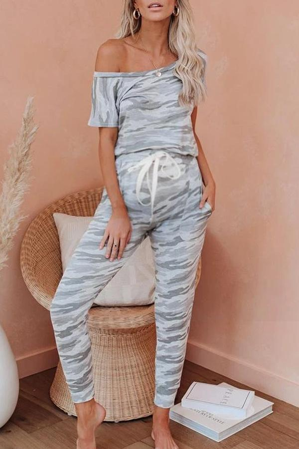 Maternity Pocketed Camo Kinit Tie Dye Jumpsuit