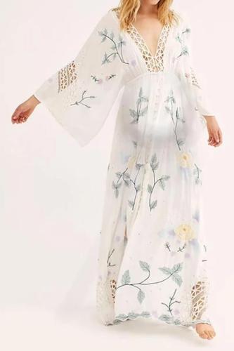 Maternity Sweet Deep V Floral Print Openwork Flare Sleeve Dress
