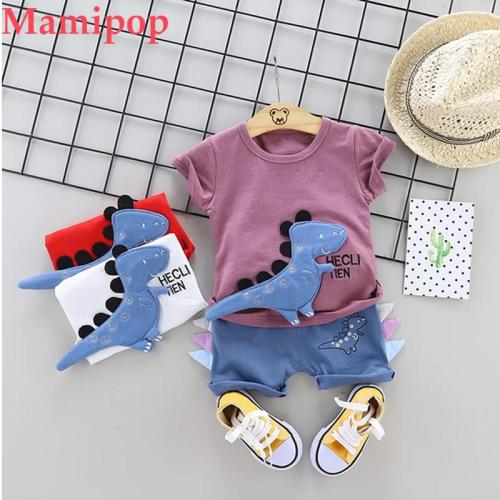 Cartoon Kids Clothes Summer Casual Toddler Baby Boys Letter Dinosaur Print T Shirt Tops Shorts Outfits Set