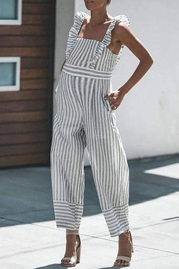 Maternity Striped Ruffled Sling Strapless Back Jumpsuit