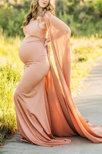 Maternity Elegant Pure Color Cape Sleeve Dress