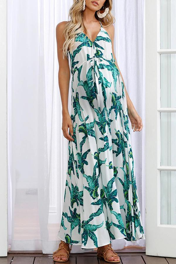 Maternity Casual V Neck Sleeveless Printed Colour Dress