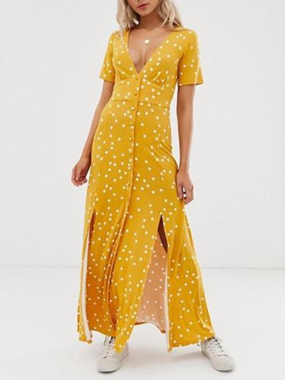Casual V-Neck Single-Breasted Polka Dot Printed Short-Sleeved Split Dress
