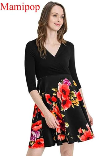 Casual Pregnant Half Sleeve Print Floral Patchwork Mini Dress