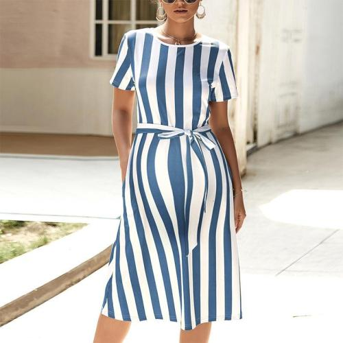 Maternity Casual Short Sleeve Pure Color Striped Belted Dress