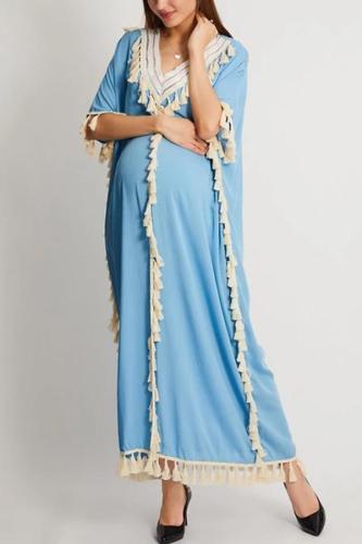 Maternity V Collar Loose Fringe Decorated Vacation Dress