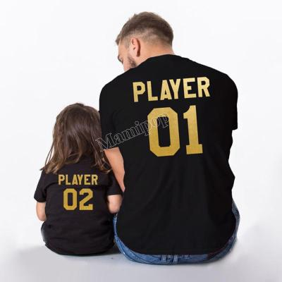 Summer Girls Tops Family Look Letter Printed Daddy And Daughter T-shirt Outfits
