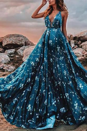 Maternity Elegant Deep V Neck Printed Sling Dress