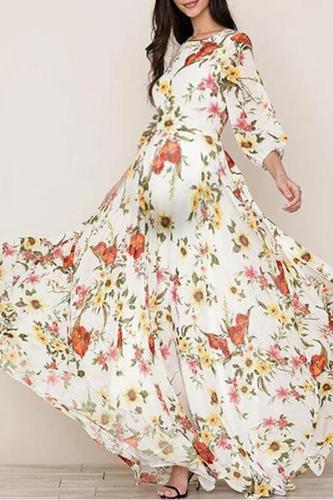 Maternity Bohemian Round Neck Printed Colour Bell Sleeve Dress