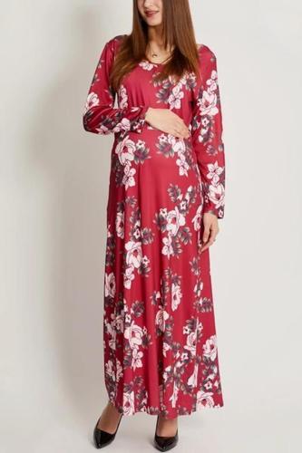 Maternity Flowers Long Sleeve Dress